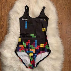 BLACKMILK Black Tetris One Piece Bathing Suit XS